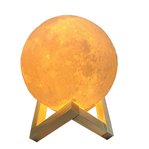 TOMNEW Night Light 3D Printing Moon Lamp Lunar Warm and Cool 2 Colors Touch Sensor Control Brightness PLA Simulation Led Moon Light Romantic Christmas Gift USB Charging Bedroom Lamp (5.9 inch)