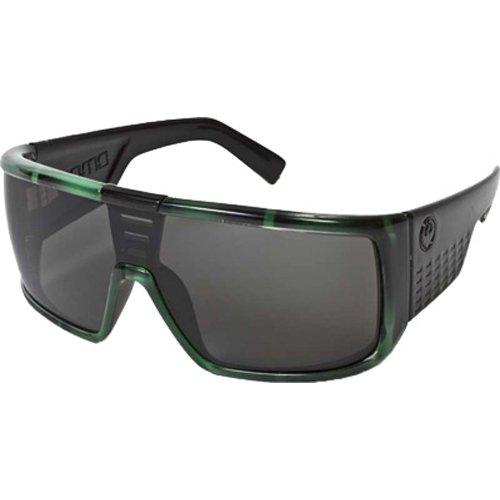 Dragon Alliance Domo Sunglasses (Green Stripe, Grey) (Around Sunglasses Wrap Dragon)