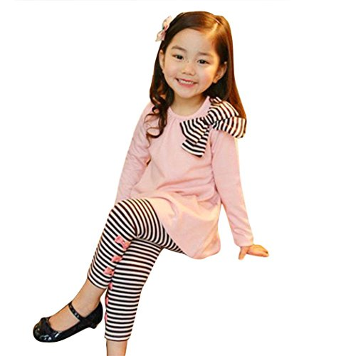 G-real Toddler Baby Girls Kids Spring Bowknot Solid Tops Long Sleeve Pullover+Striped Leggings For 2-7T (Pink, 5T)