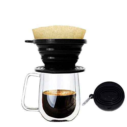 Wolecok Silicone Collapsible Coffee Filter, Camping Coffee Dripper Cone, Pour over Coffee Maker Black