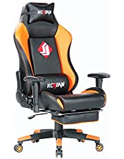 KCREAM Gaming Chair High Back PU Leather Computer Chair, Comfortable Office Chair, Game Chair with Footrest and Headrest and Lumbar Pillows