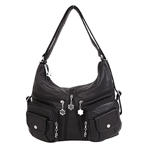 Angelkiss 2 Top Zippers Multi Pockets Handbags Washed Leather Purses Shoulder Bags Backpack AK678 (Black) by Angel Kiss