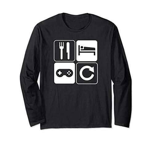 (Funny Eat Sleep Game Repeat Long Sleeve T-Shirt)