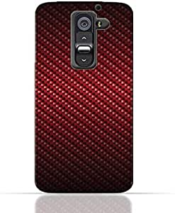 LG G2 TPU Silicone Case With Red Fiber Pattern Design