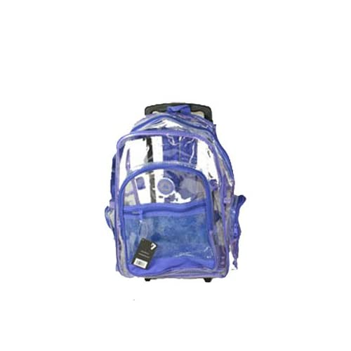 Amazon.com: Purple Clear Rolling Backpack on Wheels 18''