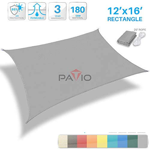 Patio Paradise 12' x 16' Light Grey Sun Shade Sail Rectangle Square Canopy - Permeable UV Block Fabric Durable Patio Outdoor - Customized Available