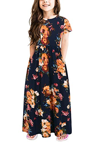 Gorlya Girl's Short Sleeve Floral Print Loose Casual Holiday Long Maxi Dress with Pockets 4-12 Years (7-8Years/Height:130cm, Orange Flower)