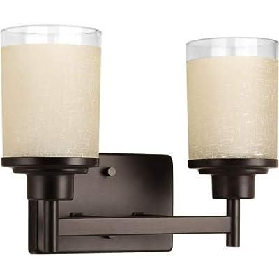 Progress Lighting P2977 Alexa 2 Light Bathroom Vanity Light with Textured Linen,