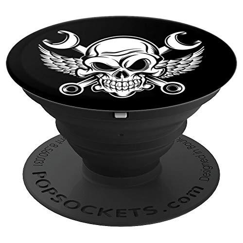 White Wings Skull - Black and White Mechanic Skull, Wrenches, and Wings - PopSockets Grip and Stand for Phones and Tablets