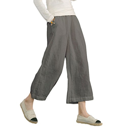 Ecupper Women's Elastic Waist Causal Loose Trousers Plus 100 Linen Cropped Wide Leg Pants, Grey, US(18)=Tag 3XL