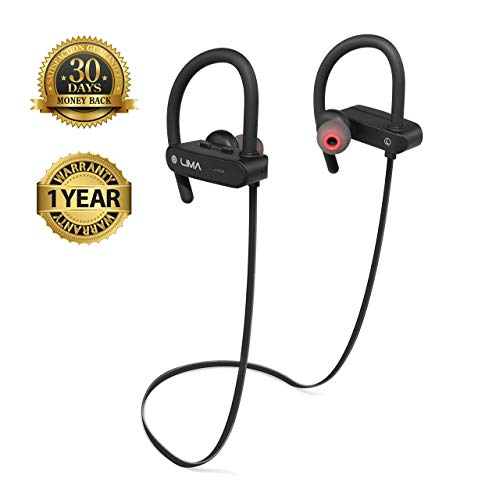 Wireless Bluetooth Headphones with Microphone, IPX7 Waterproof, IOS Android Compatible, Noise Cancelling, HD Audio, 7H Playtime, Sweatproof Earbuds, Comfort Fit Perfect for Gym, Sports, Running,