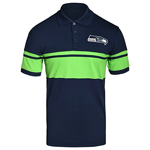 FOCO NFL Seattle Seahawks Football Team Logo Cotton Stripe Polo Shirt, Team Color, Medium