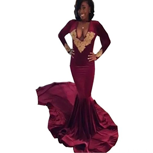Chady Sexy Deep V Neck Burgundy Prom Dresses 2017 Black Girls African Backless Gold Lace Appliques Long Mermaid Party Gowns by Chady