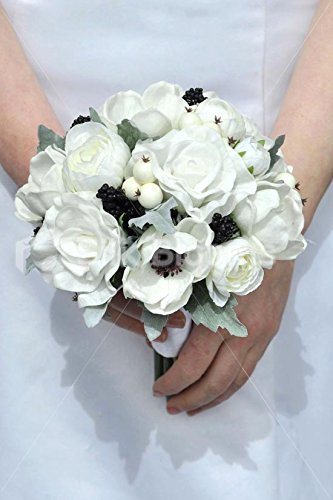 Real-Touch-White-Anemone-Rose-Ranunculus-Wedding-Mini-Posy