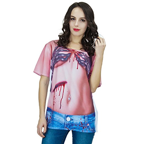 Zombie Costumes For Couples (Women's Zombie Short Sleeve T-shirt Adult Halloween Costume (Large))