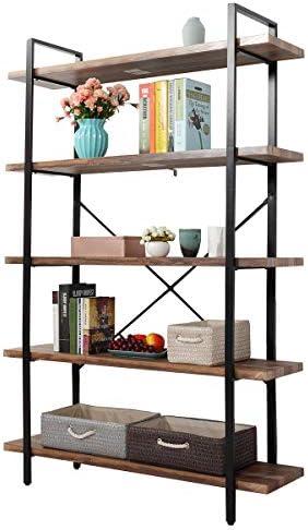 JAXSUNNY Industrial 5-Tier Open Storage Bookshelf Bookcase Organizer Furniture