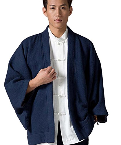 Roberoody Handsome Men's Traditional Cotton Coat Batwing Shirt Plus Size Coat BlueLarge by Roberoody Novelty-outerwear-jackets