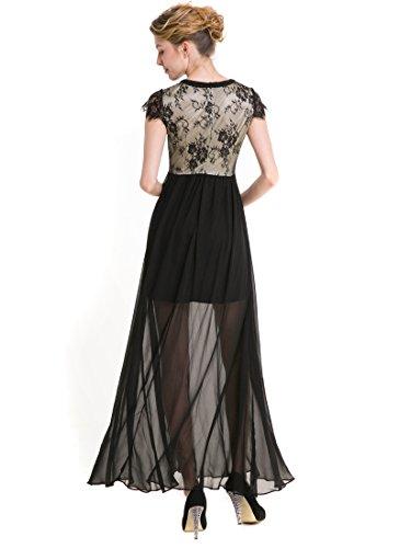 KAXIDY Robe Noir Femme Longue Robe de Soiree Elegante Robe de Mariée Bal Soirée