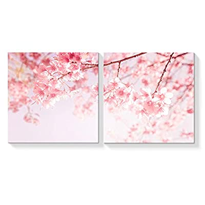 2 Panel Canvas Wall Art Japan Pink Cherry Canvas Painting Wall Decor for Living Room Framed Home Decorations -