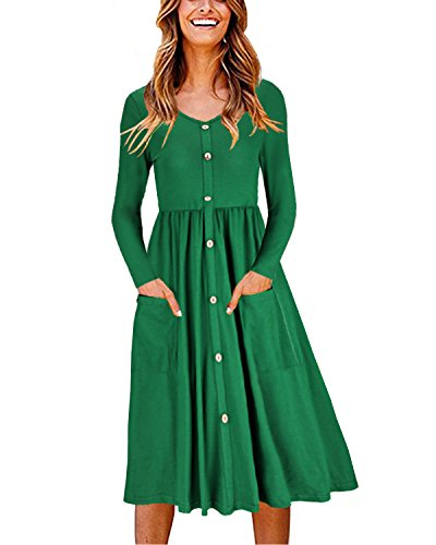 OUGES Women's Long Sleeve V Neck Button Down Midi Skater Dress with Pockets(Green,XL) (5 Design Pocket)