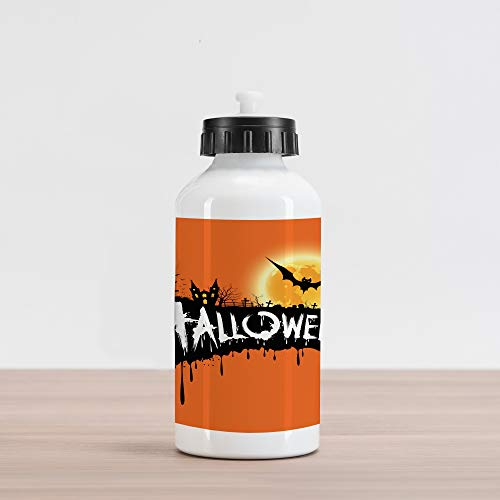 (Lunarable Halloween Aluminum Water Bottle, Spooky Party Bats and Gloomy Full Moon Grunge Style Retro Inspired Artwork, Aluminum Insulated Spill-Proof Travel Sports Water Bottle, Orange)