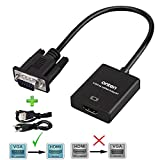 VGA to HDMI, Onten 1080P VGA to HDMI Adapter (Male to Female) for Computer, Desktop, Laptop, PC, Monitor, Projector, HDTV with Audio Cable and USB Cable (Black)
