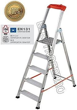 Escalera Aluminio 5 Peldaños Super Ligera y robusta de altura domestica Casa Hercules: Amazon.es: Bricolaje y herramientas