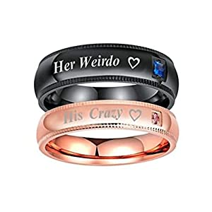 ANAZOZ Stainless Steel Promise Ring His Crazy Her Weirdo Heart CZ Rsoe Gold/Black Engagement Rings Wedding Bands[Price for 1pc]