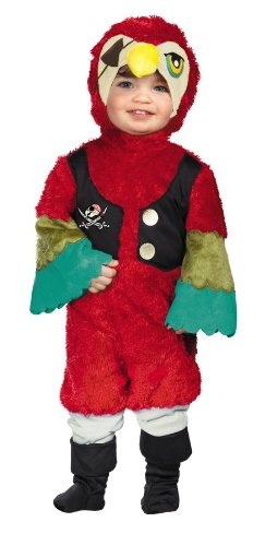 Disguise Baby's Too Cute To Spook Pirate Parrot Costume, Red/Yellow/Green, (Pirate Parrot Toddler Costumes)