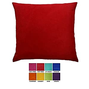 DreamHome - Solid Faux Suede Decorative Pillow Cover/Euro Sham, 26