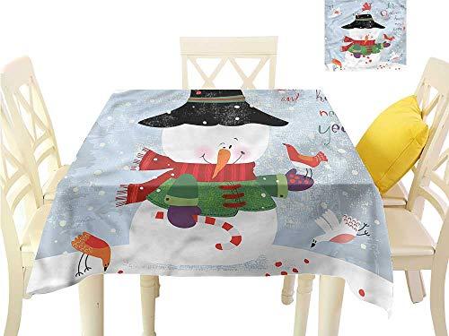 WilliamsDecor Non Slip Tablecloth Snowman,Xmas New Year Grunge Wrinkle Free Tablecloths W 54