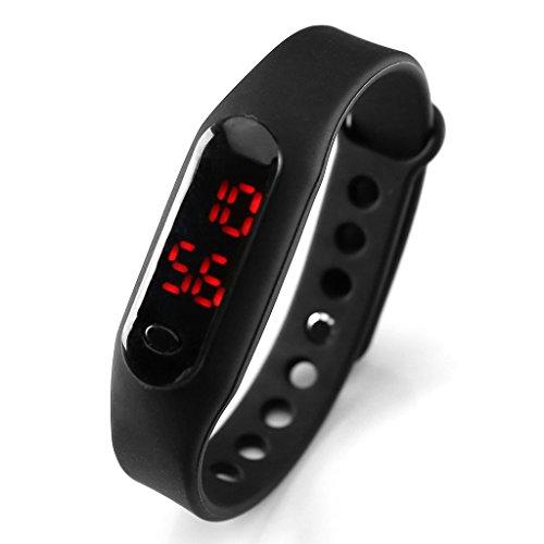 JSDDE Uhren,Candy Touch Screen LED Digital Quarzuhr Sportuhr Silikon Band Herren Damen Oval Armbanduhr,Schwarz