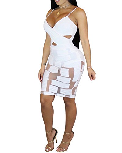 Womens Sexy Sleeveless Cut-Out Bandage Bodycon Clubwear Sheer Midi Dress White XL