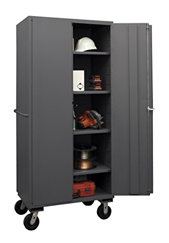 Durham 2501M-BLP-4S-95 Lockable Mobile Cabinet, 4 Adjustable Shelves, Flush Door Style, 36