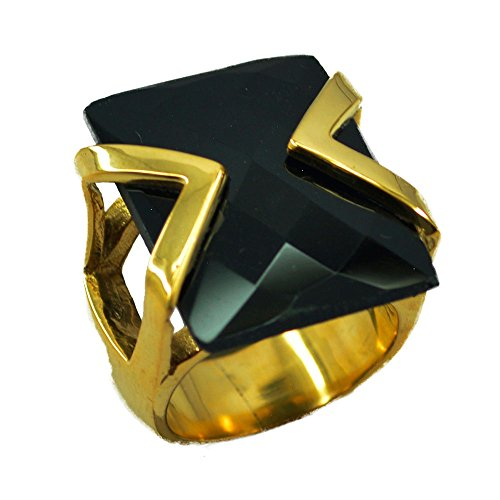 ing Gold Plated Rectangle Shape Checker Cut Fashion Jewelry Size 5,6,7,8,9,10,11,12 ()