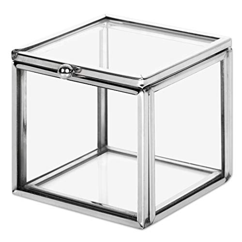 Koyal Wholesale Silver Square Cube Glass Ring Box for Proposal, Engagement, Wedding Ceremony, Ring Bearer, Gift, Keepsake, Jewelry Organizer Holder Display Case ()