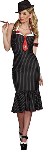 [Dreamgirl Women's Plus-Size Deadly Dames Pinstripe Gangster Costume,Multi, 1X/2X] (Gangster Costumes For Halloween)