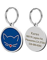 Didog Cat Face Shape Custom Pet ID Tags for Cats,Personlized Engraving