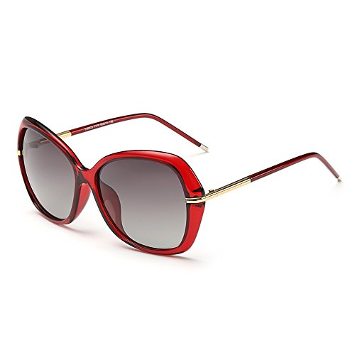 DONNA Women's Classic Oversized Polarized Sunglasses Super Big Circle Shades Ultralight D72(Red)