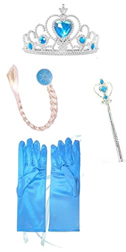 Ice Princess Elsa Accessories Set with Gloves, Crown, Hair piece and Wand (Adult Elsa Costumes)