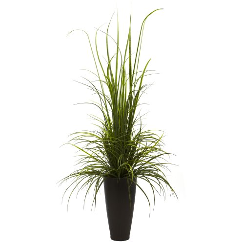 (Nearly Natural 4969 Indoor/Outdoor River Grass with Planter, 64-Inch, Green)