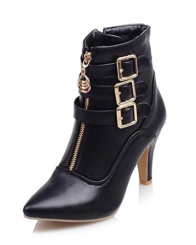 Maybest Women Autumn Winter Mid Calf Leather Boots High Heel Zipper Military Buckle Motorcycle Cowboy Ankle Booties Black 8 B (M) US ()
