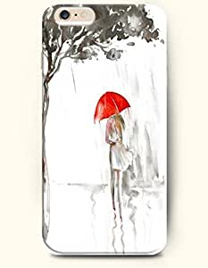 SevenArc Hard Phone Case for Apple iPhone 6 Plus ( iPhone 6 + )( 5.5 inches) - Girl With Red Umbrella Walking In...