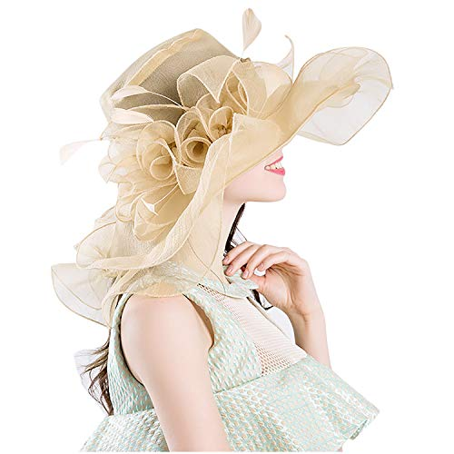 Bellady Womens Kentucky Derby Hats Cocktail Tea Party Bridal Dress Church Hat,BeigeYellow Derby Hats ()
