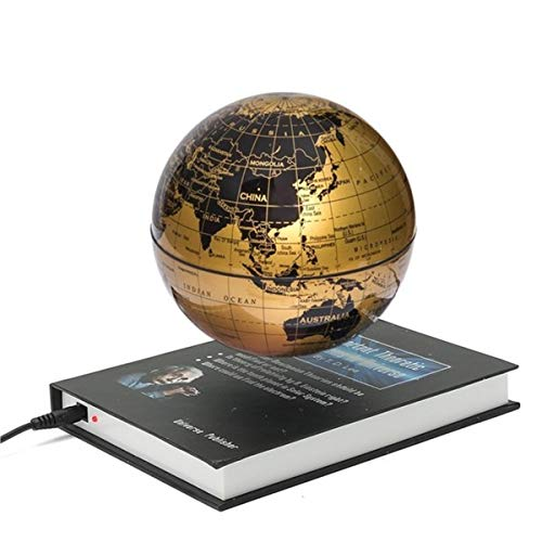 SQRGLOBES Innovative 6 inch Book Magnetic Levitation Floating Anti Gravity Globe World Map Magnetic Rotating School Teaching Supplies,Gold