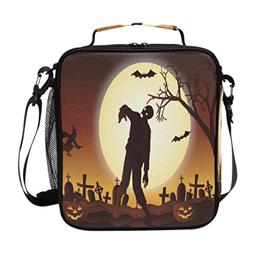 Halloween Graveyard Zombie Lunch Bag Womens Insulated Lunch Tote Containers Zipper Square Lunch Box for Kids Men Adults Boys Girls
