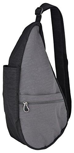 AmeriBag Small Distressed Nylon Healthy Back Bag (Stormy Grey/Black)