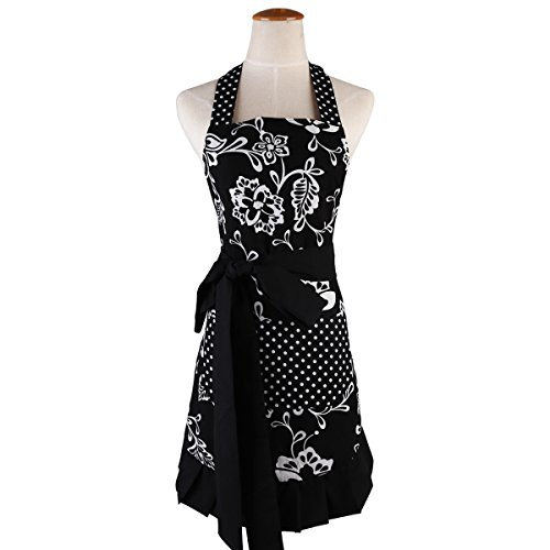 tro Vintage Women Cute Black Apron Two Pockets 100% Organic Cotton Extra-Long Tie Kitchen Apron for Baking Cooking Gardening 29 x 21 inch ()