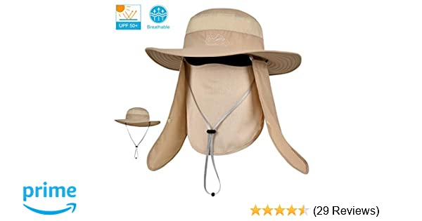LCZTN Outdoor Sun Cap for Men   Women Breathable Wide Brim Fishing Hat UPF  50+ UV Protection with Removable Face   Neck Flap for Backpacking Hiking  Travel ... 31ba9aaaf63a