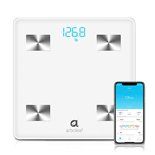 Arboleaf Bluetooth Body Fat Scale – Smart Scale Wireless Bathroom Weight Scale with iOS, Android APP, Unlimited Users, Auto Recognition Body Composition Analyzer for Fat, BMI, BMR, Muscle Mass, Water